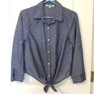 Tops - Blue Button-up Front Tied Blouse